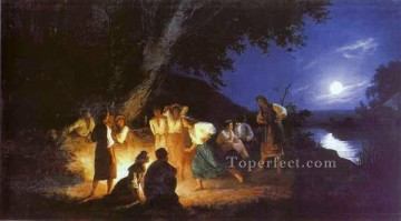 Polish Oil Painting - Night on the Eve of Ivan Kupala Polish Greek Roman Henryk Siemiradzki