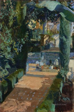 Joaquin Sorolla Painting - Court of the Dances Alcazar Sevilla GTY landscape Joaquin Sorolla
