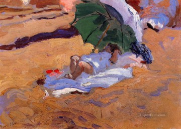 Joaquin Sorolla Painting - Childs Siesta painter Joaquin Sorolla