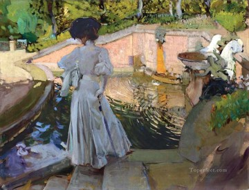 Maria Painting - Maria Watching the Fish Granja painter Joaquin Sorolla