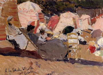Joaquin Sorolla Painting - The Beach at Biarritz painter Joaquin Sorolla