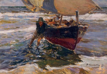 Joaquin Sorolla Painting - Beaching the Boat study painter Joaquin Sorolla