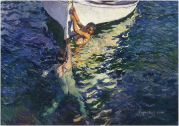 El Bote Blanco painter Joaquin Sorolla Decor Art