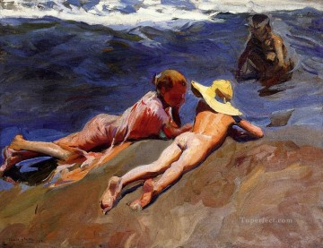 On the Sand Valencia Beach painter Joaquin Sorolla Oil Paintings
