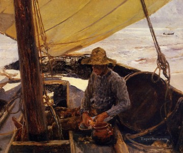 Peeling Potatoes painter Joaquin Sorolla Oil Paintings