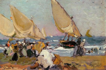 Joaquin Sorolla Painting - Sailing Vessels on a Breezy Day Valencia painter Joaquin Sorolla