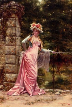 Frederic Soulacroix Painting - In The Garden lady Frederic Soulacroix