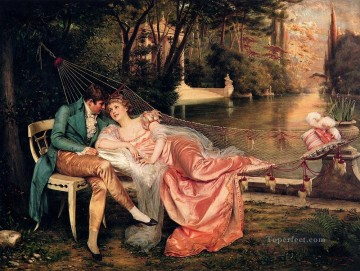 Frederic Soulacroix Painting - Flirtation 2 lady Frederic Soulacroix