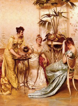 party Painting - The Tea Party lady Frederic Soulacroix