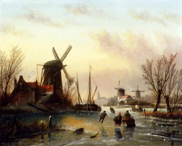 Jan Jacob Coenraad Spohler Painting - A Frozen River Landscape boat Jan Jacob Coenraad Spohler