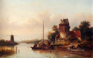 farm Works - A River Landscape In Summer With A Moored Haybarge By A Fortified Farmhouse Jan Jacob Coenraad Spohler