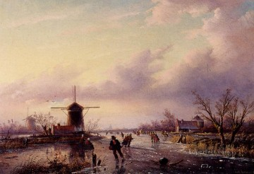 Water Works - A Winter Landscape With Figures On A Frozen Waterway Jan Jacob Coenraad Spohler