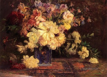 Theodore Clement Steele Painting - Still Life with Peonies Impressionist flower Theodore Clement Steele