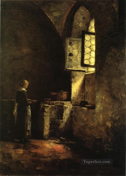 Theodore Clement Steele Painting - A Corner in the Old Kitchen of the Mittenheim Cloister Impressionist Theodore Clement Steele