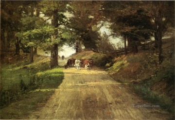 Indiana Oil Painting - An Indiana Road Theodore Clement Steele