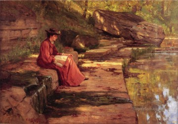 Theodore Clement Steele Painting - Daisy by the River Theodore Clement Steele
