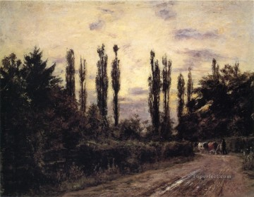 Theodore Clement Steele Painting - Evening Poplars and Roadway near Schleissheim Theodore Clement Steele