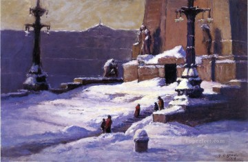 Theodore Clement Steele Painting - Monument in the Snow Theodore Clement Steele
