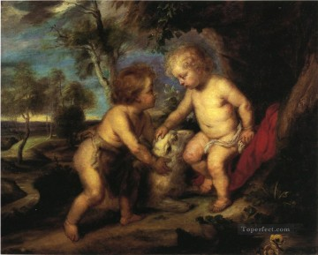 child Painting - The Christ Child and the Infant St John after Rubens Impressionist Theodore Clement Steele
