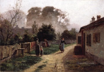 Theodore Clement Steele Painting - Village Scene Theodore Clement Steele