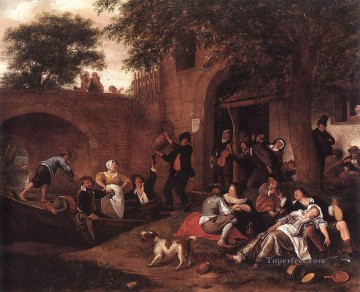 Jan Steen Painting - Leaving The Tavern Dutch genre painter Jan Steen