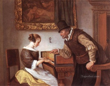 Jan Steen Painting - The harpsichord Lesson Dutch genre painter Jan Steen
