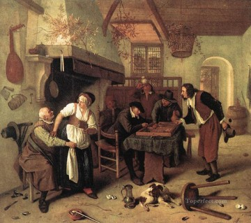 In The Tavern Dutch genre painter Jan Steen Oil Paintings