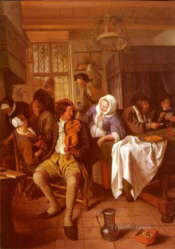 Interior Painting - Interior Of A Tavern Dutch genre painter Jan Steen