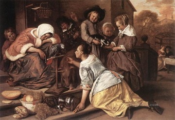 Jan Steen Painting - The Effects Of Intemperance Dutch genre painter Jan Steen