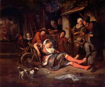 Wine Painting - Wine Dutch genre painter Jan Steen
