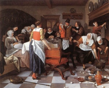 Jan Steen Painting - Celebrating The Birth Dutch genre painter Jan Steen