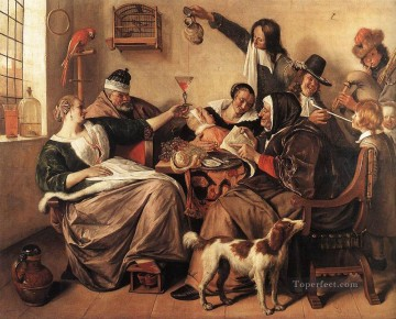 Artists Oil Painting - The Artists Family Dutch genre painter Jan Steen