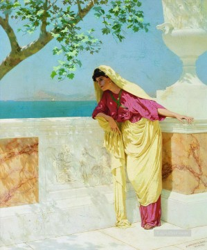 Greek Woman by the Sea Stephan Bakalowicz Ancient Rome Oil Paintings