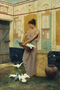 Feeding the Pigeons Stephan Bakalowicz Ancient Rome Oil Paintings