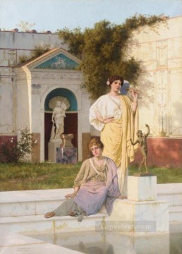 rome Painting - in garden Stephan Bakalowicz Ancient Rome
