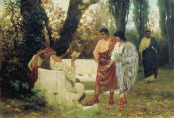 Catullus Reading His Poems to Friends Stephan Bakalowicz Ancient Rome Oil Paintings