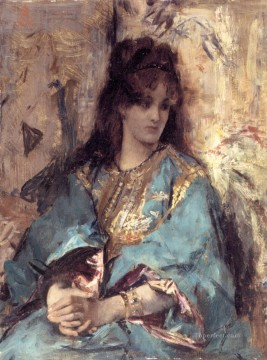 Belgian Art - A Woman Seated in Oriental Dress lady Belgian painter Alfred Stevens