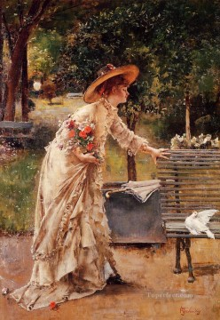 Alfred Canvas - Afternoon in the Park lady Belgian painter Alfred Stevens
