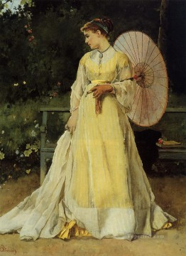Alfred Canvas - In the Country lady Belgian painter Alfred Stevens
