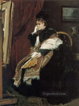 Alfred Canvas - La Douloureuse Certitude lady Belgian painter Alfred Stevens