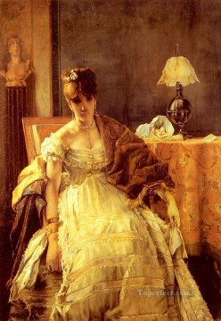 Love Painting - Lovelorn lady Belgian painter Alfred Stevens
