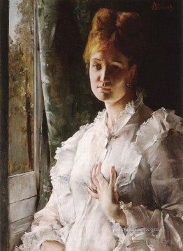 Alfred Canvas - Portrait of a Woman in White lady Belgian painter Alfred Stevens