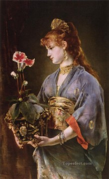 Belgian Art - Portrait of a Woman lady Belgian painter Alfred Stevens