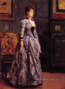 Alfred Canvas - Portrait of a woman in blue lady Belgian painter Alfred Stevens