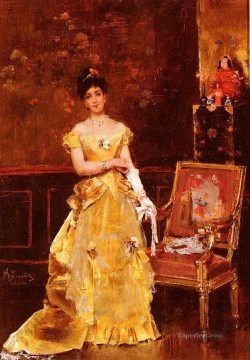 Belgian Art - Preparing For The Ball lady Belgian painter Alfred Stevens