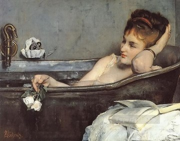 Alfred Stevens Painting - The Bath lady Belgian painter Alfred Stevens