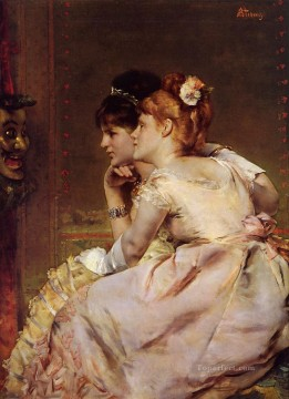 Belgian Art - The Japanese Mask aka Intrigue lady Belgian painter Alfred Stevens