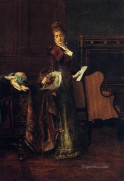 Love Painting - The Love Letter lady Belgian painter Alfred Stevens