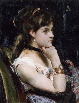 Alfred Canvas - Woman Wearing a Bracelet lady Belgian painter Alfred Stevens