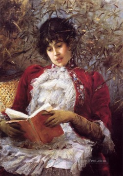 Julius LeBlanc Stewart Painting - An Enthralling Novel women Julius LeBlanc Stewart